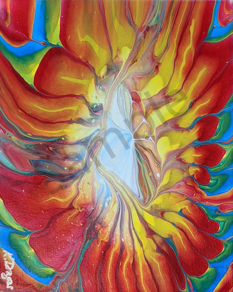 Rainbow Flower Fluid Art Acrylic Pour Print
