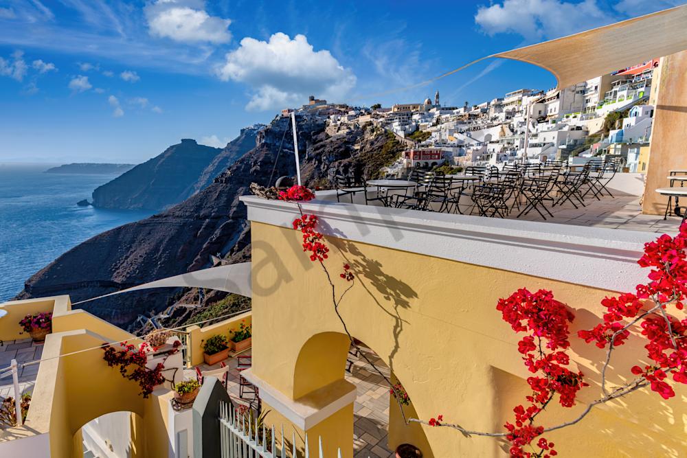 Print Art Thira Santorini Greece Balcony Overlook