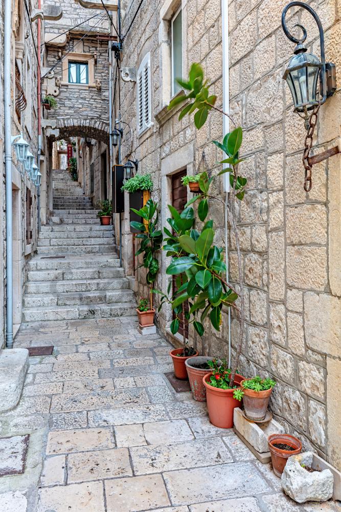 Print Art Korcula Croatia Long Alleyway
