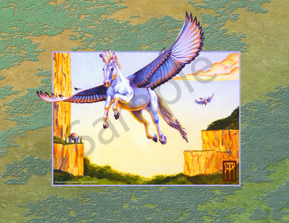 Mesa Pegasus With Green Background Art   Melissa A Benson Illustration