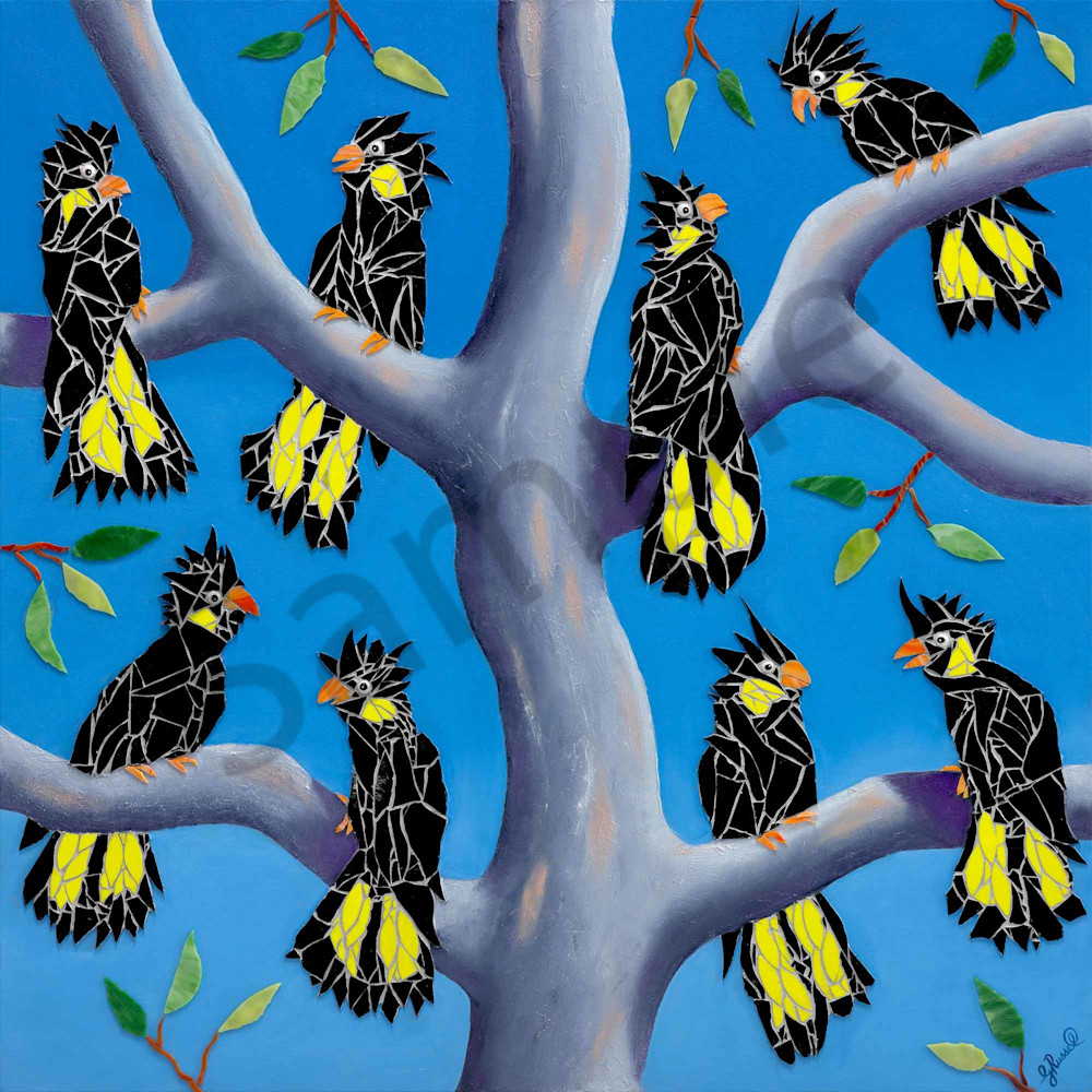 Eight Black Cockatoos
