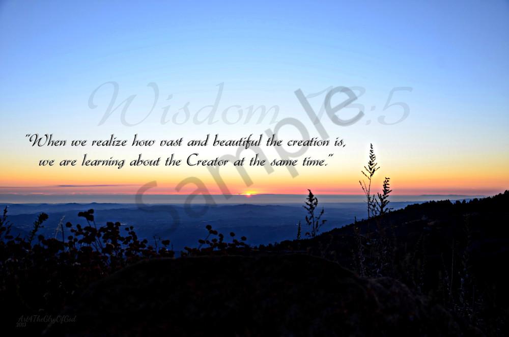 """Creator"" - Wisdom 13:5"