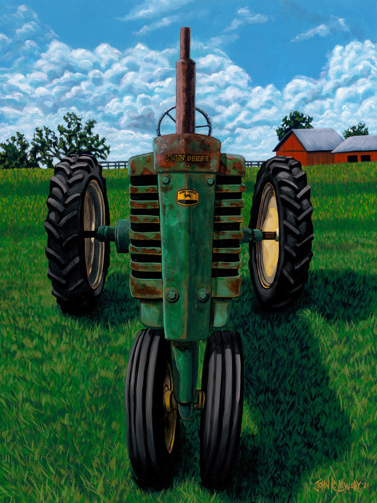Original painting of old John Deere tractor available as art prints.