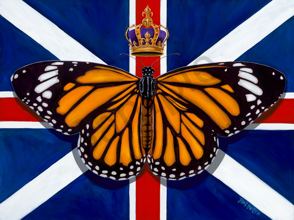 Original painting of a monarch butterfly and Union Jack flag for sale as art prints.