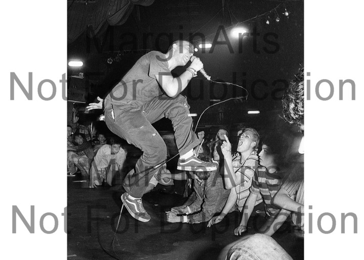 Photo of Minor Threat live at the On Broadway, San Francisco, April 1983, shot by Mofo
