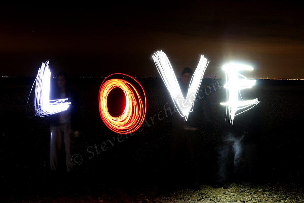 LOVE Light Painting Night Photograph by Steven Archdeacon.