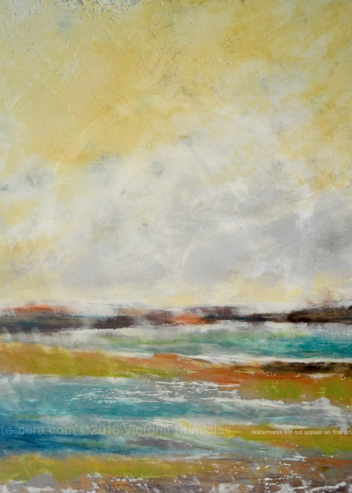 Lapping Layers - Yellow Wall Art - Ocean Paintings