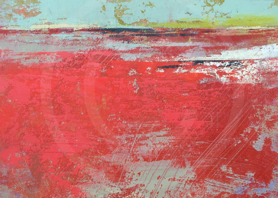 Cerise Harbor - Coastal Artwork - Red Wall Art