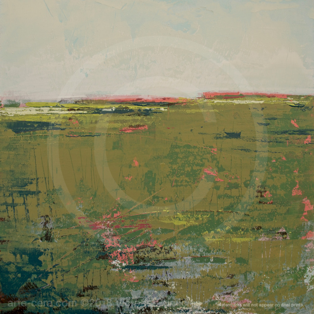 Brassy Pastures Abstract Landscape Paintings Wall Art