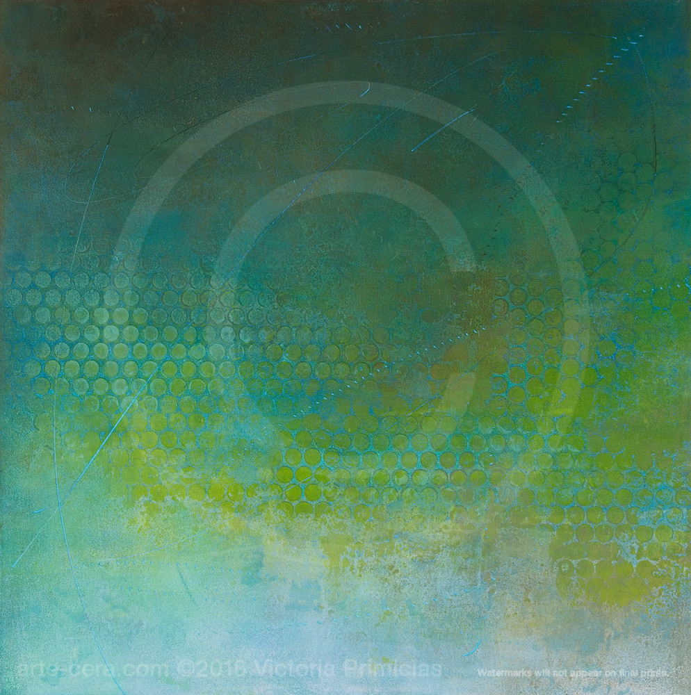For A Moment - Contemporary Abstract Art - Bluegreen Painting