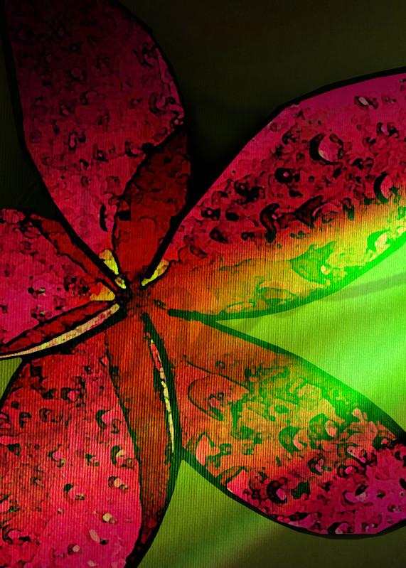 The Hawaiian Pink Plumeria on green background