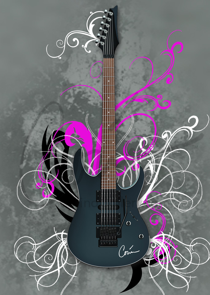 Rock and Roll guitar in pink