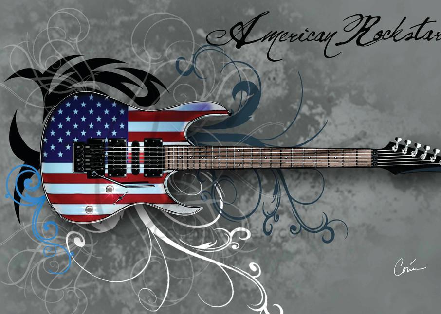 Corina Bakke's Grey American Rockstar Guitar Vertical