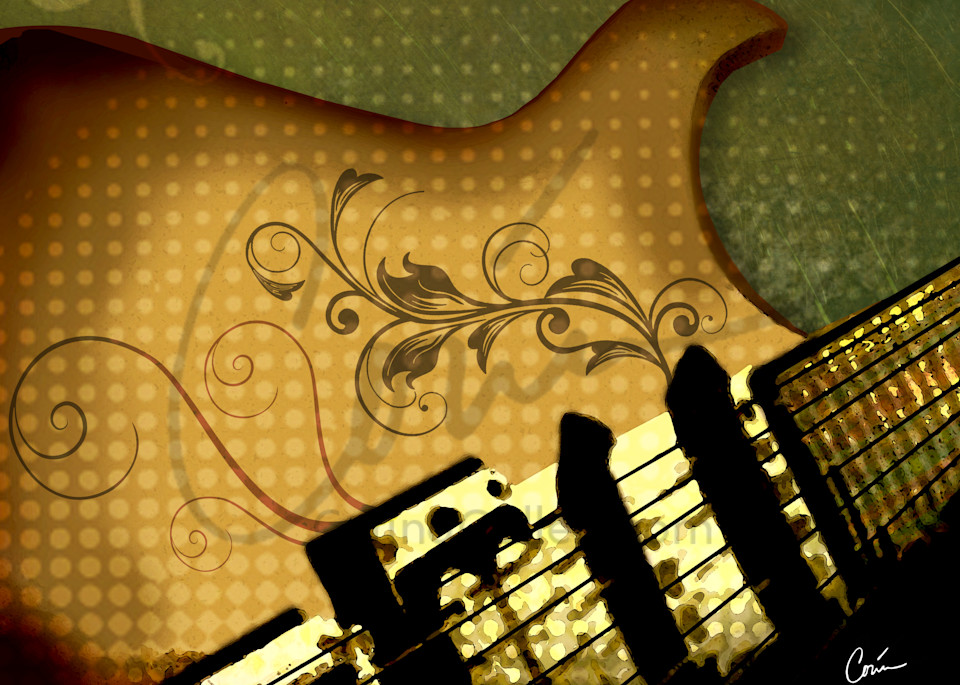 Rock and roll green and gold guitar