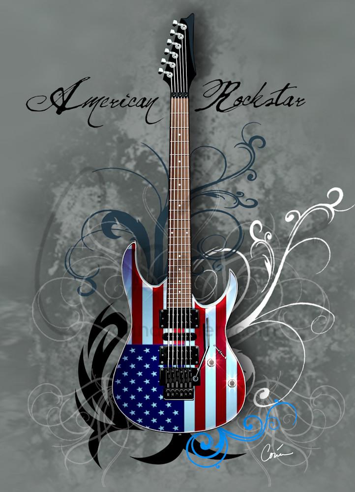 Grey American Rockstar Guitar Vertical
