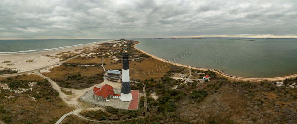Fire Island Lighthouse Aerial Panoramic photograph taken with a drone by Steven Archdeacon.