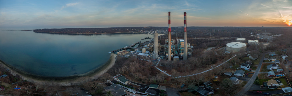 Port Jefferson, NY Aerial Panoramic photograph taken with a drone by Steven Archdeacon.
