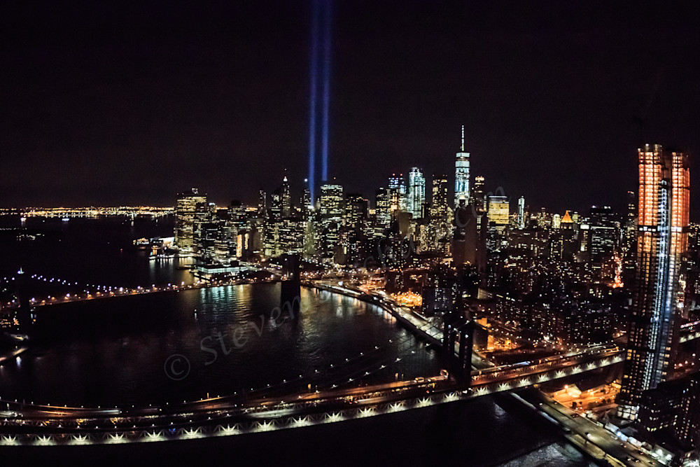 Aerial photographs of 9/11 Tribute Lights from helicopter by Steven Archdeacon.