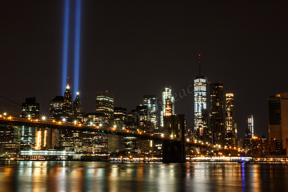 9/11 Tribute Lights & World Trade Center with Brooklyn Bridge by Steven Archdeacon.