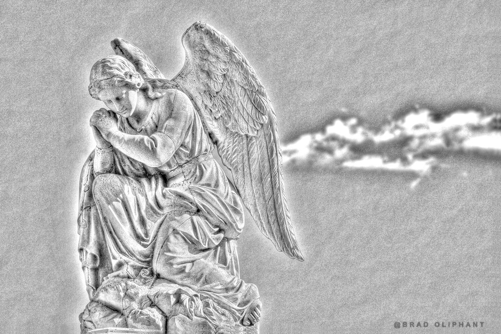 black and white photography, black and white photography of angels, angel photography, photography by Brad Oliphant,