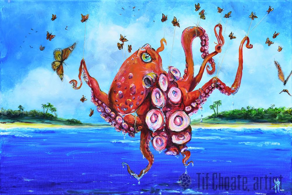 Multi media art | Octopus art | Monarch butterfly carrying an Octopus, painting by Tif Choate | Snaiil Candy Art