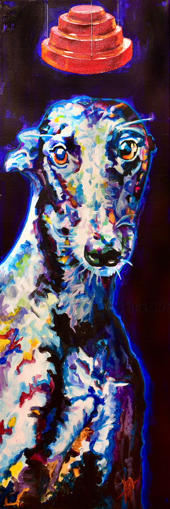 Whippet dog, Whip It Good by DEVO reference, original dog art by Tif Choate
