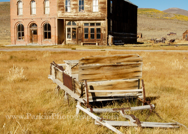Abandoned Sleigh & Commercial Buildings print | Jim Parkin Fine Art Photography