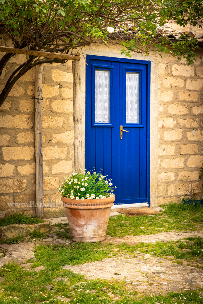 Blue Door and White Flowers | Jim Parkin Fine Art Photography
