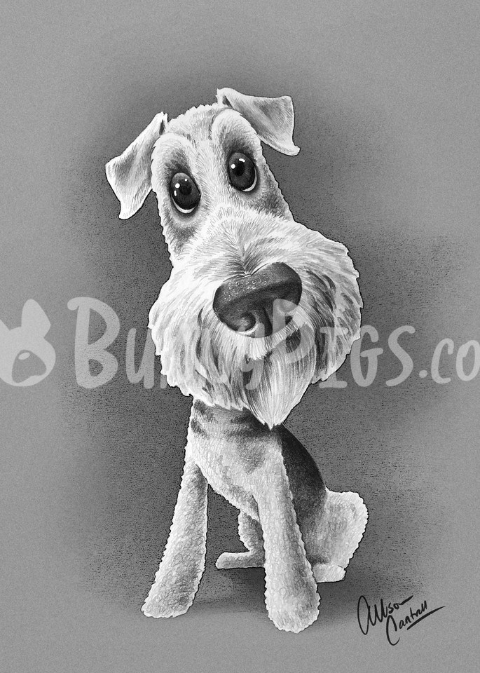 Churchill The Airedale Art   BunnyPigs
