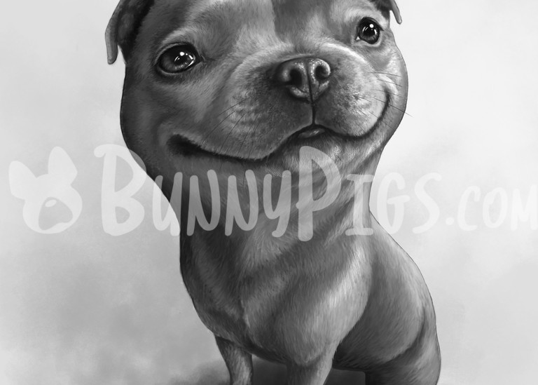 Dora The Staffy Art | BunnyPigs