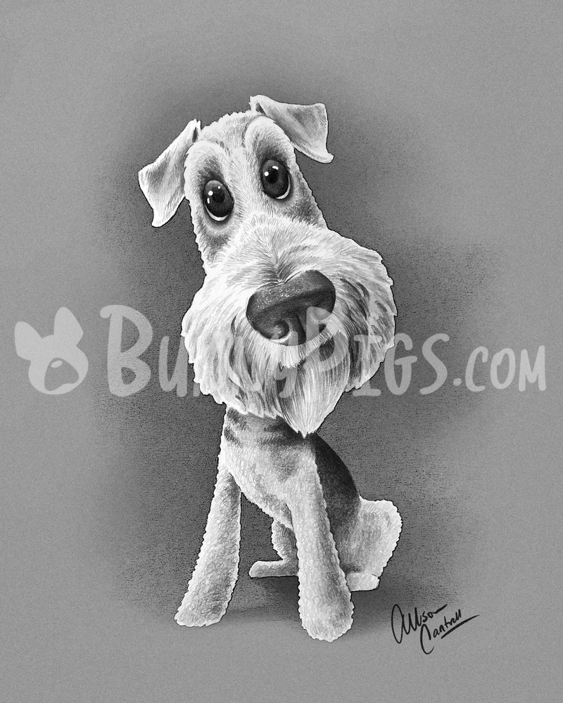 Churchill The Airedale Art | BunnyPigs