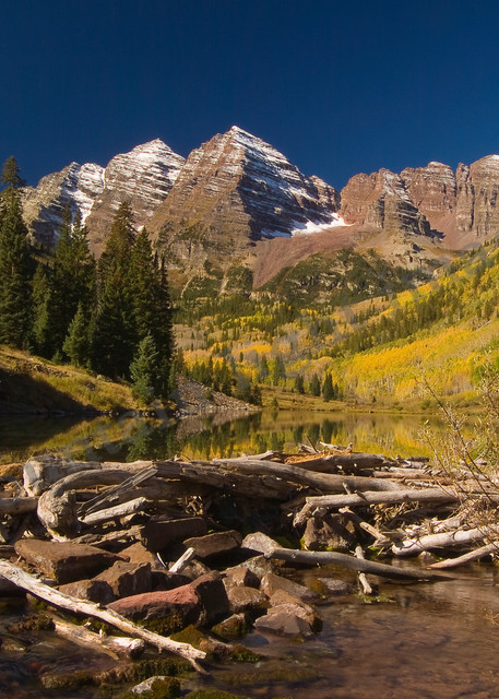 Mountain Light Images, Maroon Bells, Colorado, Lake, Fall, Fall colors, sun, aspen trees, park