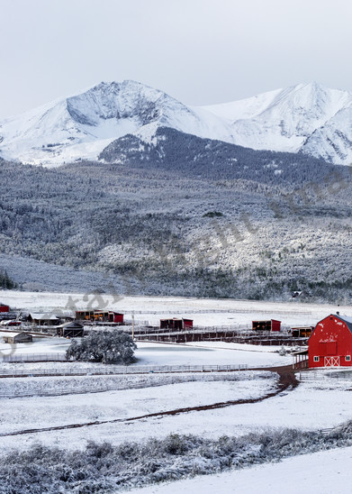 mountain light images early september snowfall coats a local ranch below mount sopris near carbondale colorado red barn stands out in the white scene