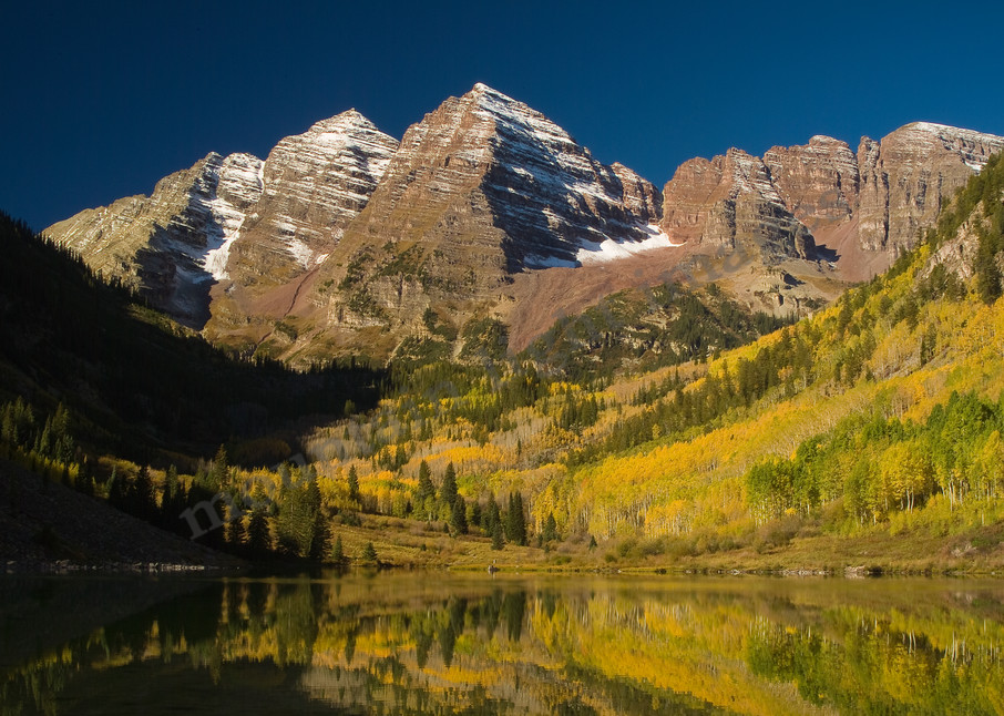 072 Maroon Bells Fall Mirror Photography Art | Mountain Light Images