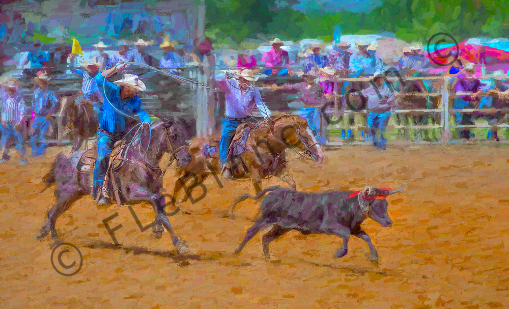 Rodeo Team Steer Roping Painting Decor|Wall Decor fleblanc