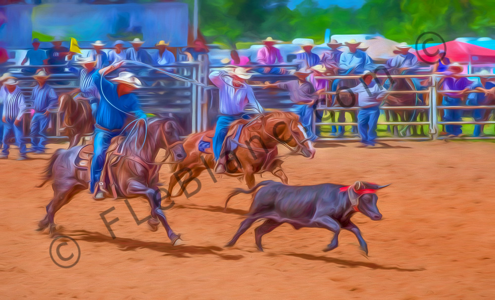 Rodeo Team Steer Roping West Painting|Wall Decor fleblanc