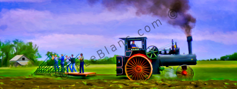 Vintage Steam Tractor Plowing Pano Decor|Wall Decor fleblanc
