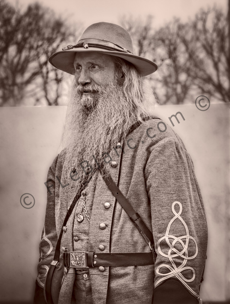 Civil War Officer Portrait Vintage Sepia Realistic Historic fleblanc