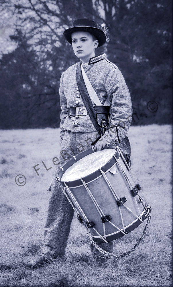 Civil War Drummer Boy Monochrome Realistic Historic fleblanc