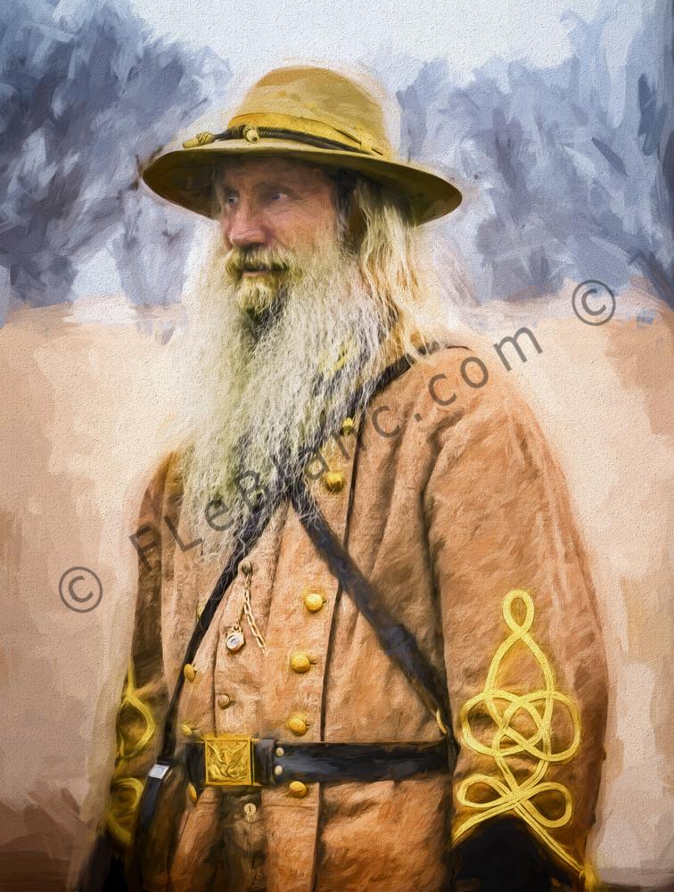 Civil War Officer Portrait Painting Realistic Historic Soldier fleblanc