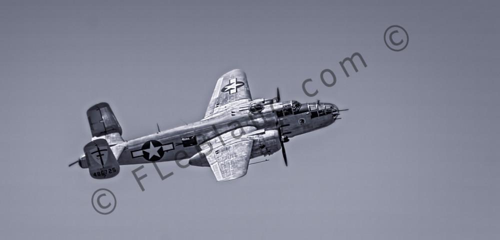 Vintage B-25 Mitchell Super Rabbit In The Air Black & White fleblanc