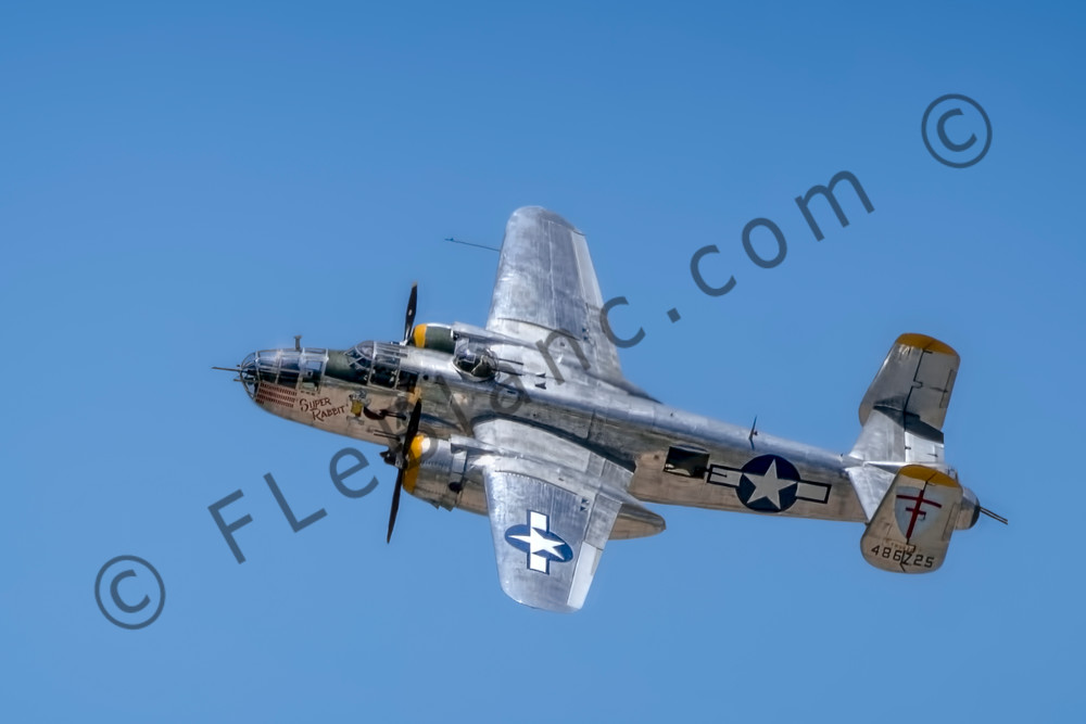 B-25 Mitchell Super Rabbit In The Air Restored Warbird fleblanc