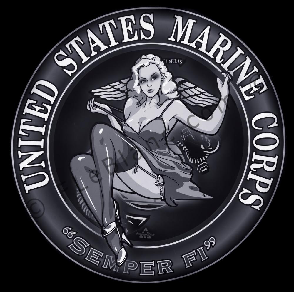 Marine Corps Semper Fi Military Medallion Monochrome fleblanc