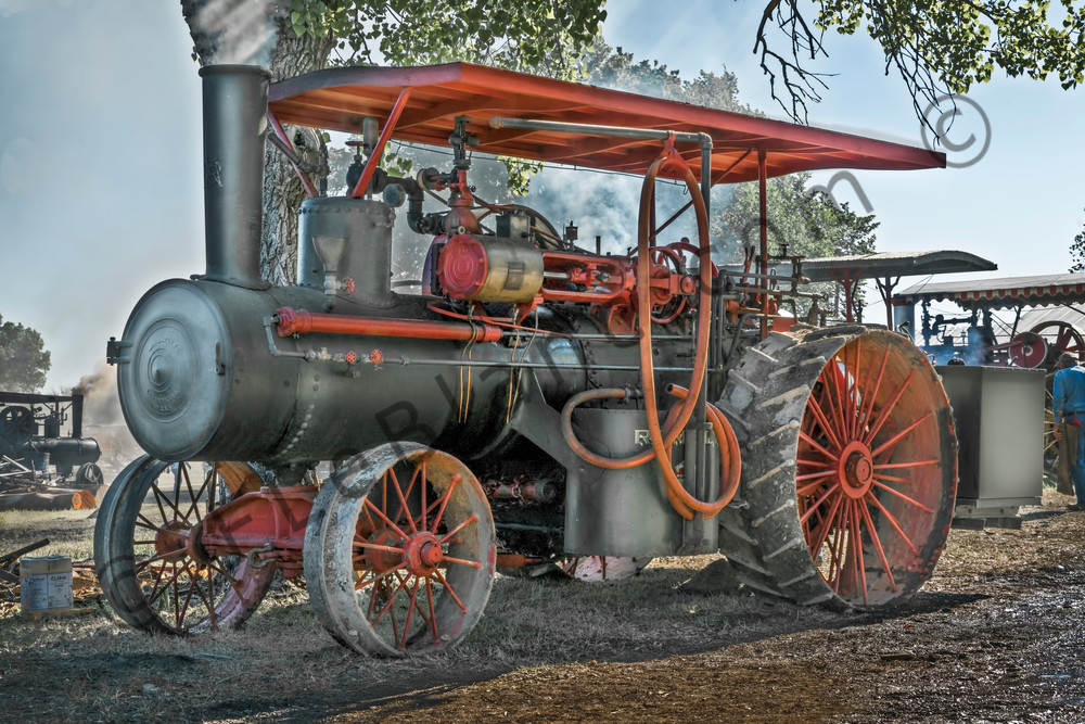 Rumley Steam Tractor Side View Steamed Up fleblanc