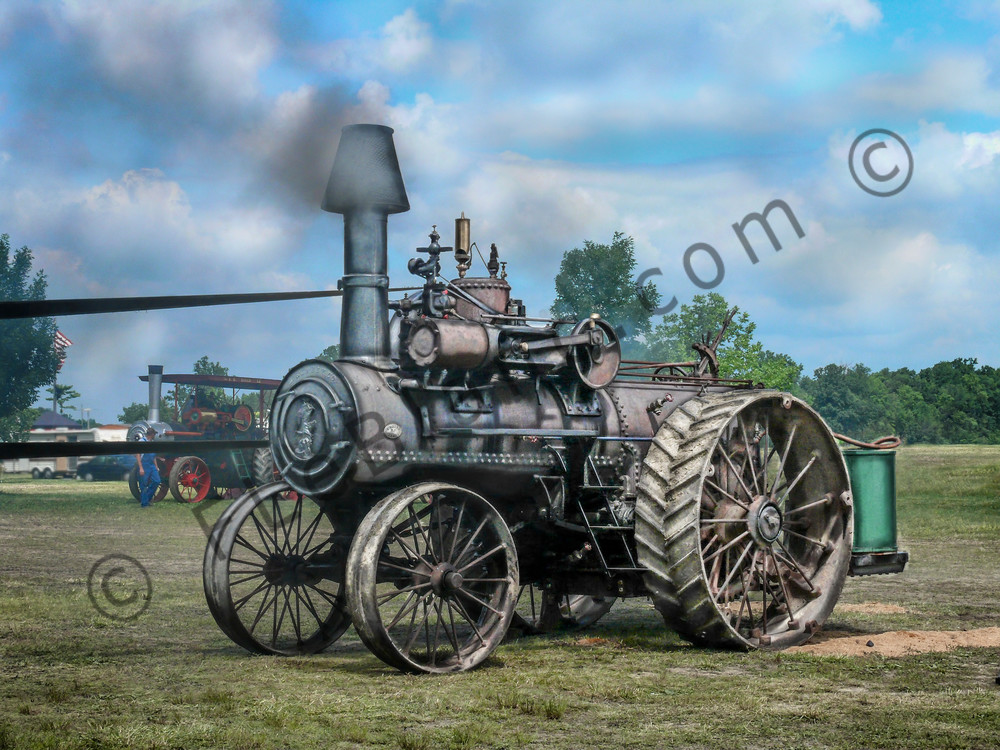 M Rumely Steam Powered Traction Engine In The Belt Blue Sky fleblanc