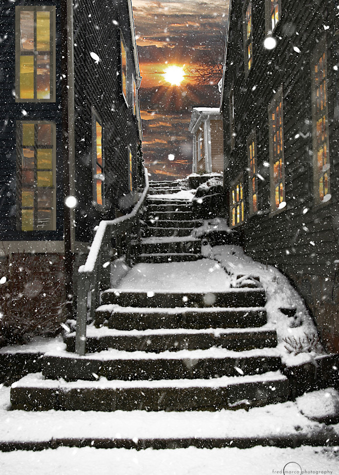 Alley Steps at High Street in Marblehead, MA.
