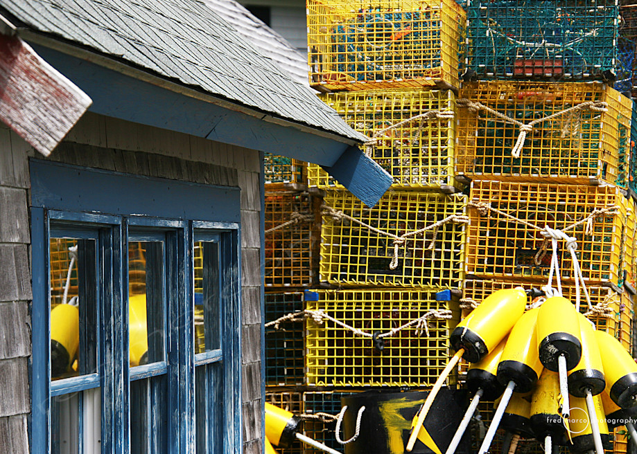 Yellow Lobster Traps and Blue Shack