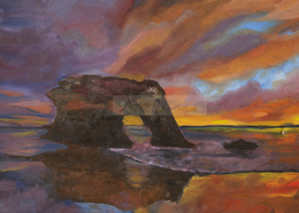 Sunset over the Natural Bridge, Santa Cruz prints from an original painting by Ane Howard