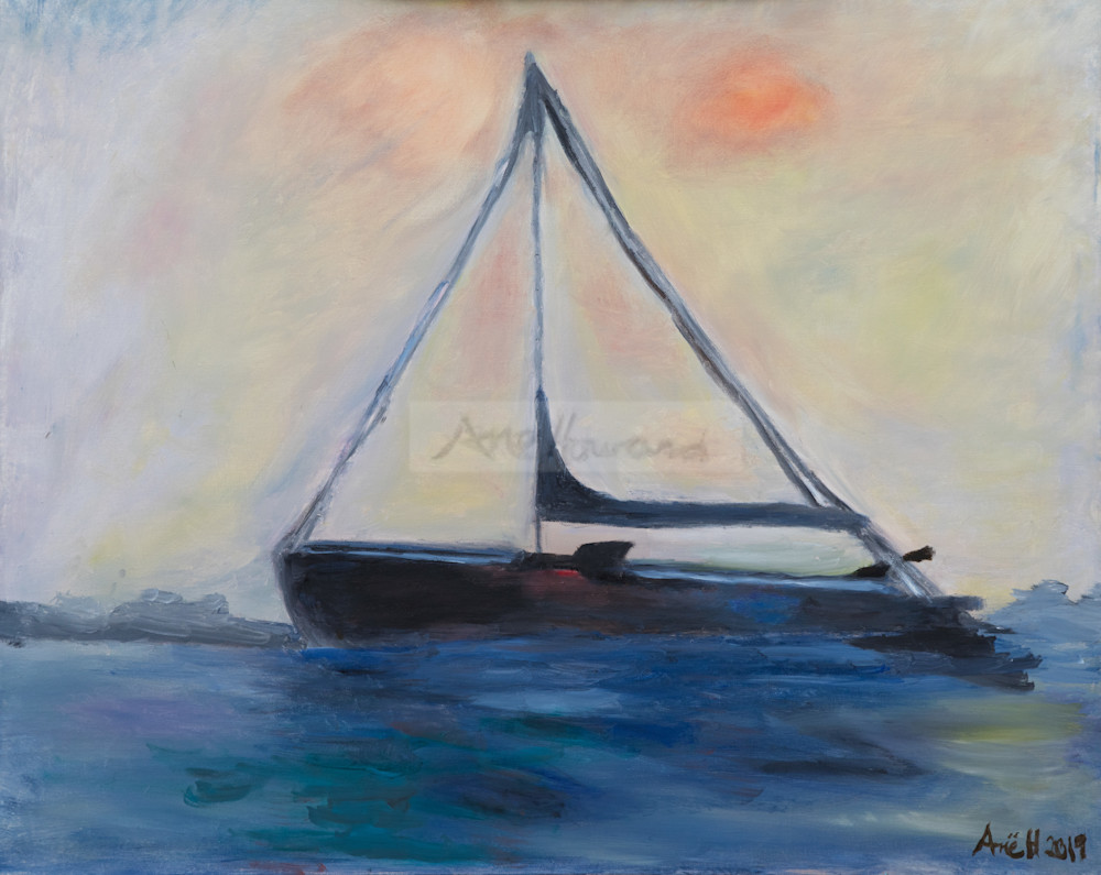 """Sausalito Sailboat at Sunrise"" print from an original oil painting by Ane Howard"""