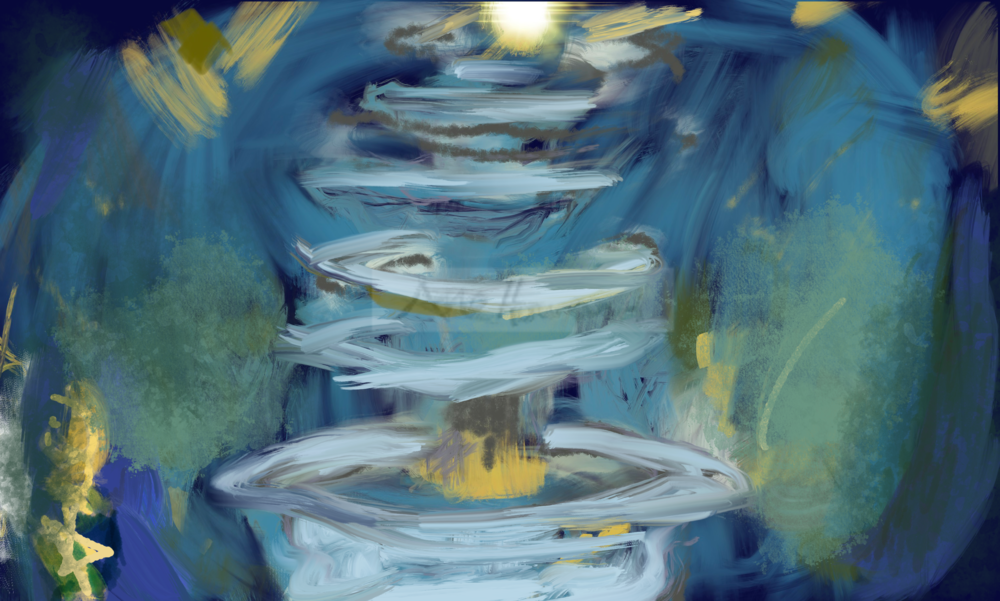 Abstract Fountain in Blue